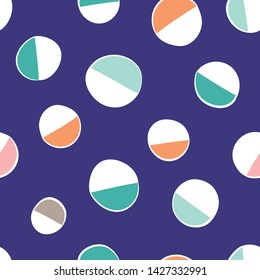 Seamless colorful abstract shapes repeat pattern design. Fun surface pattern with playful shapes and colors.