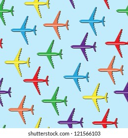 Seamless colorful airplanes background