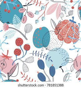 Seamless colorful autumn vector pattern with berries and fruits on the white background