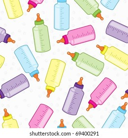 Seamless colorful baby bottles background