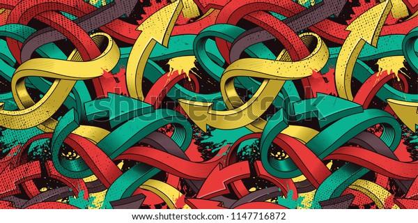 Seamless colorful background of Graffiti on dark background.