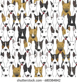 Seamless colorful bull terrier pattern