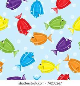 Seamless colorful fish background