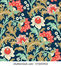 Seamless colorful floral pattern in folk style with flowers, leaves.. Hand drawn. Vector illustration.