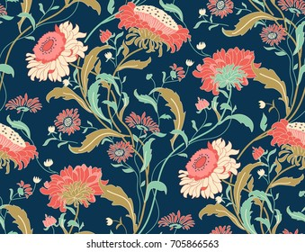 Seamless colorful floral pattern in folk style with flowers, leaves. Vintage wallpaper. Hand drawn. Vector illustration