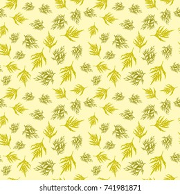 Seamless colorful floral pattern. Vector abstract background with leaves. Patterned paper wallpaper for scrapbooking
