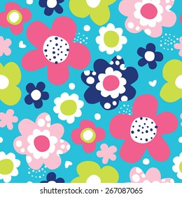 seamless colorful flower pattern vector illustration