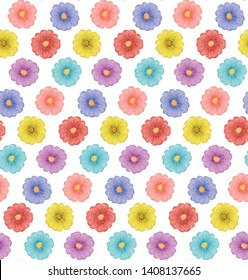 Seamless colorful flowers pattern vector
