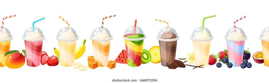 Seamless colorful fruit milkshake set design. Vector illustration cartoon flat icon collection isolated on white.