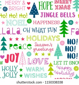 Seamless of colorful fun typography with pine tree and snowflake on white background