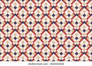 Seamless colorful geometric casual allover textile print block. Common geometric motif pattern classy background. Modern color plaid design. Abstract minimalist geometrical ornament graphic style