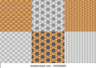 seamless colorful and grey straw wicker pattern