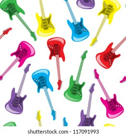 Seamless colorful guitars background