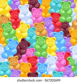 Seamless colorful gummy bears candies background. Sweets vector pattern.