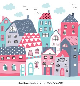 seamless colorful houses pattern vector illustration
