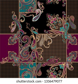 seamless colorful paisley ornamental pattern. pattern for fabrics or textile design