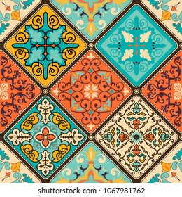 Seamless colorful patchwork tile with Islam, Arabic, Indian, ottoman motifs. Majolica pottery tile. Portuguese and Spain decor. Vector illustration