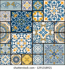 Seamless colorful patchwork tile with Islam, Arabic, Indian, ottoman motifs. Majolica pottery tile. Portuguese and Spain azulejo. Ceramic tile in talavera style. Vector illustration.