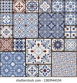 Seamless colorful patchwork tile with Islam, Arabic, Indian, Ottoman motifs. Majolica pottery tile. Portuguese and Spain decor. Ceramic tile in talavera style. Vector illustration