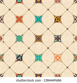 Seamless colorful patchwork tile with Islam, Arabic, Indian, Ottoman motifs. Majolica pottery tile. Portuguese and Spain decor. Azulejo. Ceramic tile in talavera style. Mosaic tile