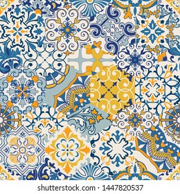 Seamless colorful patchwork tile with Islam, Arabic, Indian, ottoman motifs. Majolica pottery tile. Portuguese and Spain decor. Gaudi mosaic. Ceramic tile in talavera style. Vector illustration