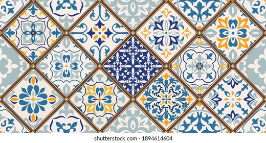 Seamless colorful patchwork tile with Islam, Arabic, Indian, ottoman motifs. Majolica pottery tile. Portuguese and Spain decor. Ceramic tile in talavera style. Vector illustration.