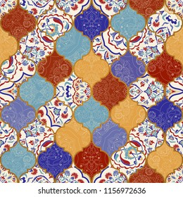 Seamless colorful patchwork in turkish style. Islam, Arabic, Indian, ottoman motifs. Endless pattern can be used for ceramic tile, wallpaper, linoleum, textile, web page background. Vector hand drawn.