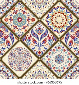 Seamless colorful patchwork. Vintage multicolor pattern in turkish style. Hand drawn background. Islam, Arabic, Indian, ottoman motifs