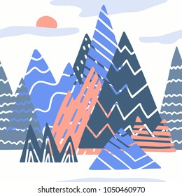 The seamless colorful pattern with abstract mountains and rocks. Hand drawn overlapping background for your design.Textile, blog decoration, banner, poster, wrapping paper.