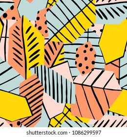 The seamless colorful pattern with abstract trend leaves. Hand drawn overlapping nature background for your design.Textile, blog decoration, banner, poster, wrapping paper.
