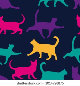 Seamless colorful pattern of cat on a blue background. For boys and girls. for textiles.