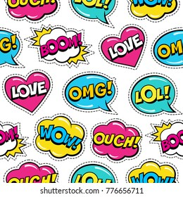 Seamless colorful pattern with comic speech bubbles patches on white background. Expressions LOVE, LOL, BOOM, OUCH, WOW, OMG. Vector illustration of modern vintage stickers, pop art style