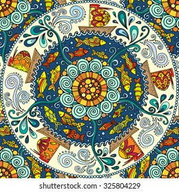 Seamless colorful pattern. Ethnic mandala background with decorative ornament, doodle fishes, waves, wind and ships.