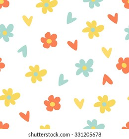 Seamless colorful pattern with flowers and heart. Baby pattern