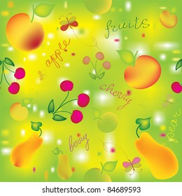 Seamless colorful pattern with fruits