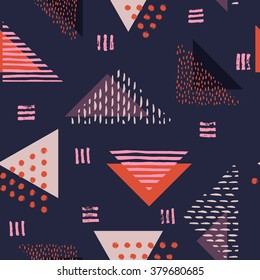 The seamless colorful pattern with geometric shapes. Triangles, crosses, circles. Hand drawn overlapping background for your design. Textile, blog decoration, banner, poster, wrapping paper.