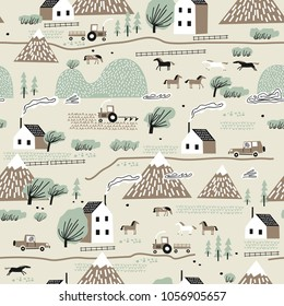 Seamless colorful pattern with house, trees, horses, mountains and hills. Nordic nature landscape concept. Perfect for kids fabric, textile, nursery wallpaper.