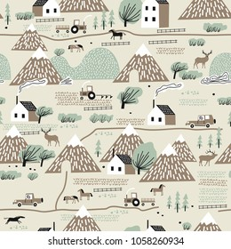 Seamless colorful pattern with house, trees, horses, mountains, hills and reindeer. Nordic nature landscape concept. Perfect for kids fabric, textile, nursery wallpaper.