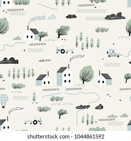 seamless colorful pattern with house,trees and mountains. Nordic nature landscape concept. Perfect for kids fabric, textile, nursery wallpaper.