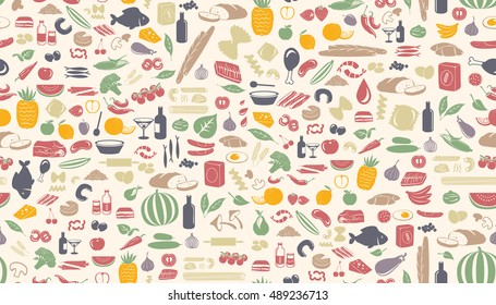 Seamless colorful pattern made from small food illustrations.