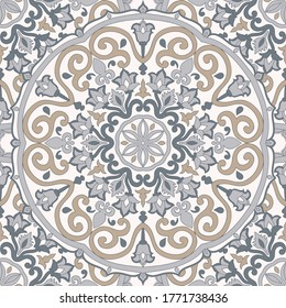 Seamless colorful pattern with mandala. Vintage decorative element. Hand drawn pattern in turkish style. Islam, Arabic, Indian, ottoman motif. Vector illustration.