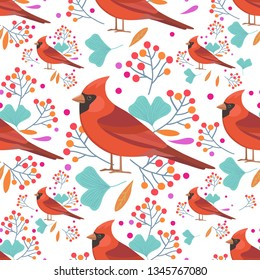 Seamless colorful pattern with red cardinal birds, leaves and berries