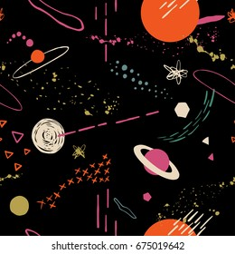 The seamless colorful pattern with space, stars, galaxies, constellations. Hand drawn overlapping background for your design.Textile, blog decoration, banner, poster, wrapping paper.
