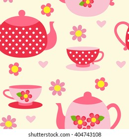 Seamless colorful pattern with tea cups and pots in pink and red