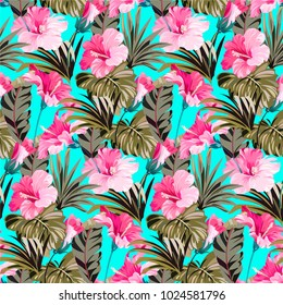 Seamless colorful pattern with tropical and exotic flowers and leaves. Hawaii summer blue pattern with pink flowers and leaves.
