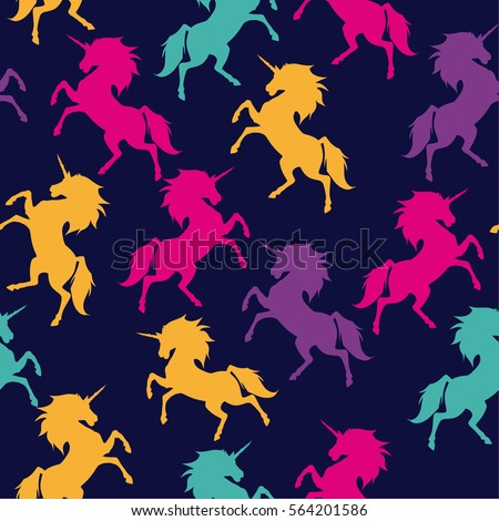 Seamless colorful pattern of unicorns on a blue background. For boys and girls. for textiles.