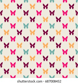 Seamless colorful pattern. Vector background with flat style butterflies