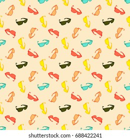 Seamless colorful pattern. Vector background with Sunglasses