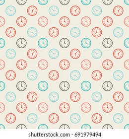 Seamless colorful pattern. Vector background with clock