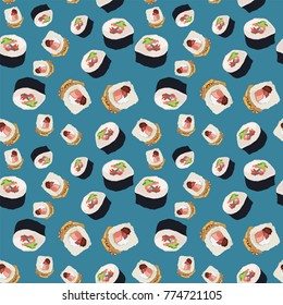Seamless colorful pattern. Vector background with Sushi rolls and Japanese food. Patterned paper wallpaper for scrapbooking